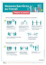Mesures barrières au travail. Repas et pause