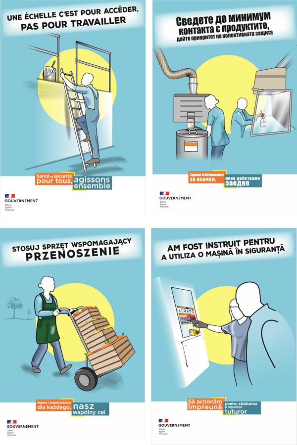 4 affiches de la campagne diffusée par le ministère du travail (en français, bulgare, polonais et roumain)