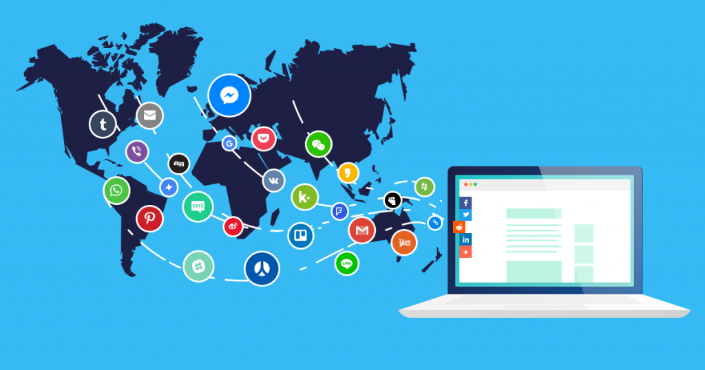 Graphic Showing Popular Social Media Platform Icons Across the World
