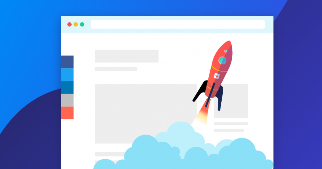 Graphic showing rocket ship inside a browser with AddThis tools implemented.